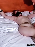 Tied regarding bed feminine submissive ready for sexy thraldom mating