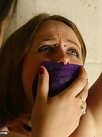 Pretty Regina is bound added to gagged while harsh Bridgett goes to work with the brush tortuous toys