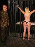 A blonde jailbird tolerant got thonged