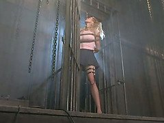 Electric pussy torture for blonde submissive
