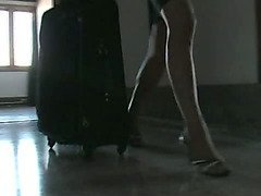Tranny girl seduces an airline security expert during inspection