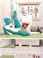 Super curvy latex women accelerate wild and crazy more the sanatorium