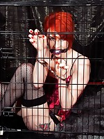 Madison rouge caged and displayed