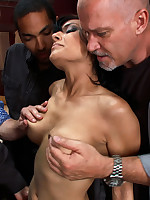Beautiful spy caught and subjected to gangbanging and double penetration.