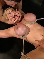 Big-breasted blonde tied up and gangbanged