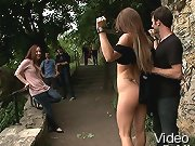 Mona has her big natural tits exposed for everyone to see while she is tied up, fucked, and humiliated in public!