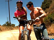 Teen Kara fucked on her mountain bike while tied up!