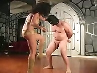 Pain balls kicking for fat slave