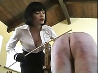 Brutally beating her masked slave ass many times