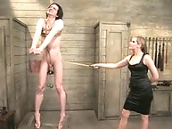 Mistress spanks her slave in teaching class
