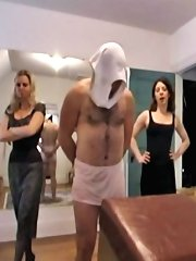 Skirts disciplining naughty charge OTK with different implements and bare hands