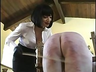 Brutally beating her masked slave arse many times