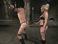 Mistress Harmony Rose whips and bonks her hooded slave