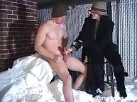 Random girl strokes his dick