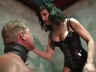 Cruel goddess humiliates her slave