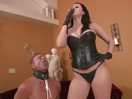 Femdom humiliation with darksome brown goddess