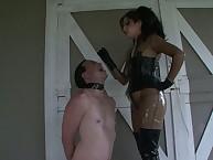 Hot headmistress uses slave like an ashtray
