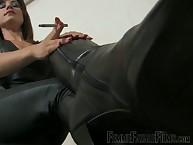 Smoking keep quiet mistress teasing slave