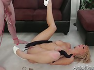 Hot girl friend nearby scornful heels pooped together with roped slave's bushwa