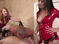 Two latex dominas screwed cucks