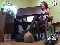 Trampled by pantyhosed feet