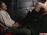 A slaveboy is sure of licking feet