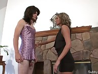 The dominant girl uses sub in femdom game