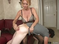 Blonde domme trains her home male