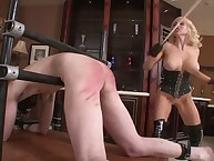 The dominant blonde spanks her submale