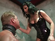 Cruel babe humiliates her submale