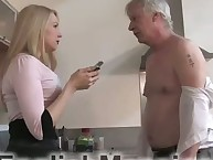 Crazy blonde babe is trampling her dude