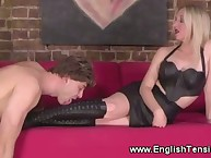 The slave boy loves sniffing mistress' socks