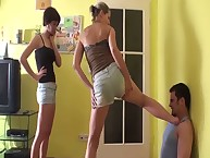 A submissive BF worshipped the shoes of his dominant girl