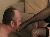 The brunette chick is stomping on a male pet