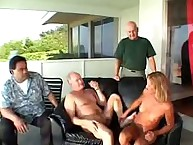 Cute wife deepthroating several guys