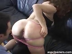 Slave was standing on his knees and licked Dominatrix's asshole very deep