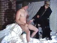 Hard handjob for slave