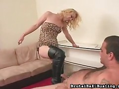 Merciless domme likes to drill his ass with a strapon