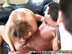 All holes of sexy wife Monica was ready to accept men's cocks