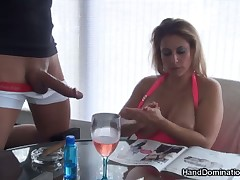 Hot milf jerked off dick of totally naked dude