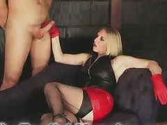 CFNM style action with cool blond domme