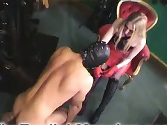 Mature domme adores her subby licking her butt