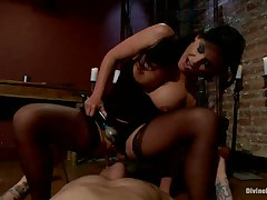 Nude slave bearing ball busting