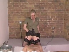 Two mistress jerk off slave's cock