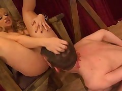 Slave licked cute booty of his domme