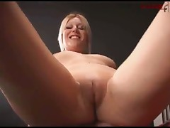 Nude blonde was sitting on sub's face