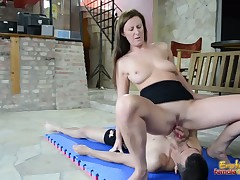 Femdom porn with facial and slaves