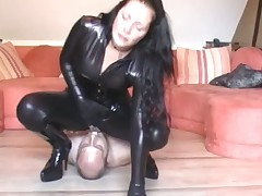Dominatrix in latex sat on man's face and rode him rough
