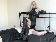 Bald male slave is getting facesitting from chubby domme