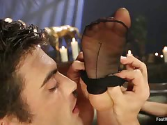 Footdom slave had to lick Dominatrix' soles
